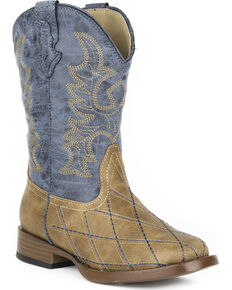 Roper Boys' Tan Cross Cut Western Boots - Square Toe , Tan, hi-res