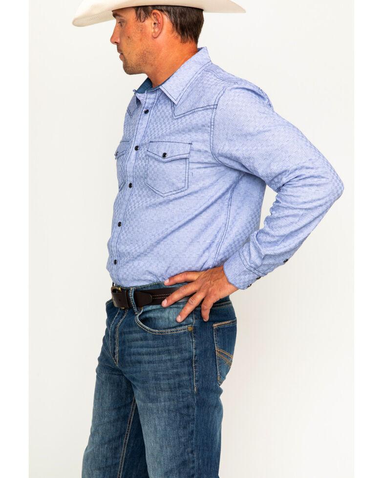 Cody James Men's Giddings Geo Print Long Sleeve Western Snap Shirt, Light Blue, hi-res