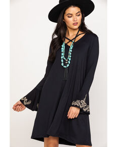 Roper Women's Black Knit Embroidered Bell Sleeve Dress, Black, hi-res
