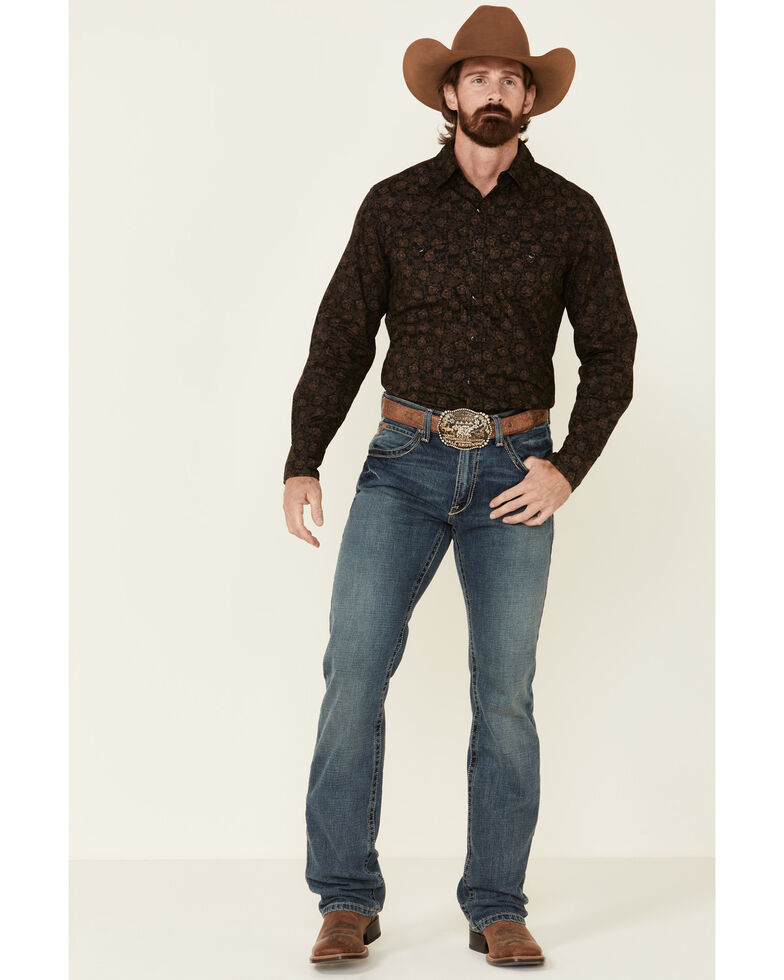Stetson Men's Original Rugged Vintage Dot Floral Print Long Sleeve Western Shirt , Black, hi-res