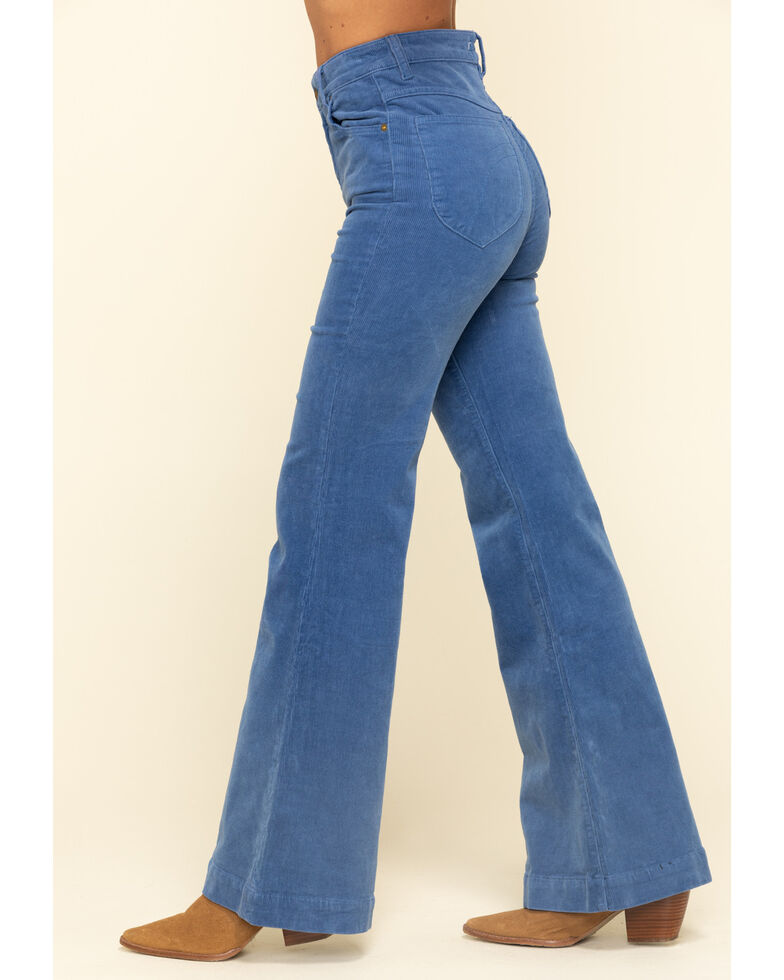 Rolla's Women's French Blue Corduroy Flare Jeans  , Blue, hi-res