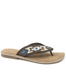 Roper Women's Multi Beaded Sandals, Brown, hi-res