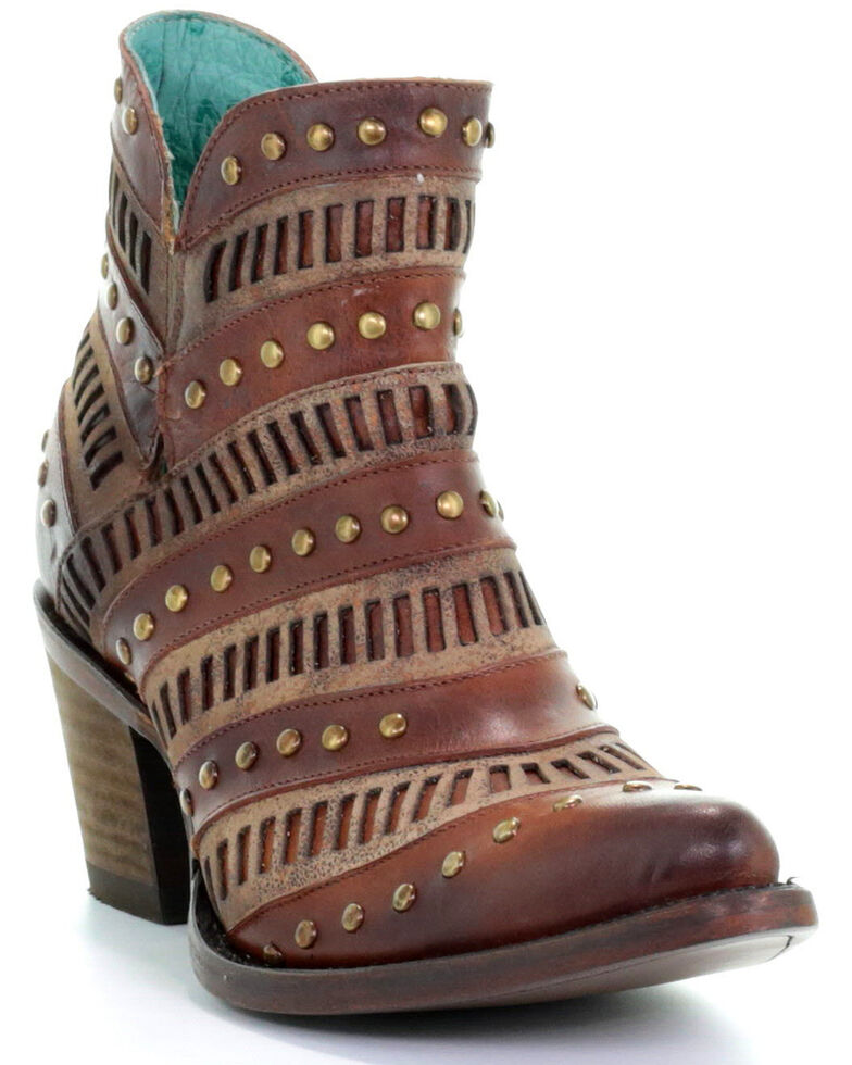Corral Women's Studded Inlay Western Booties - Pointed Toe, Brown, hi-res