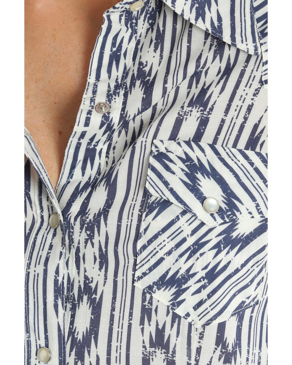 Wrangler Women's Aztec Print Snap Front Long Sleeve Western Shirt , Blue, hi-res