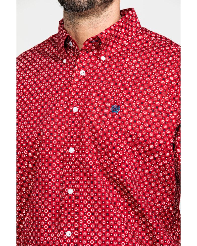 Cinch Men's Red Mini Square Geo Print Long Sleeve Western Shirt , Red, hi-res
