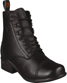 Ariat Heritage Paddock Lace-Up Riding Boots - Round Toe, Black, hi-res