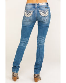 Miss Me Women's Winged Pocket Embroidered Light Straight Jeans  , Blue, hi-res