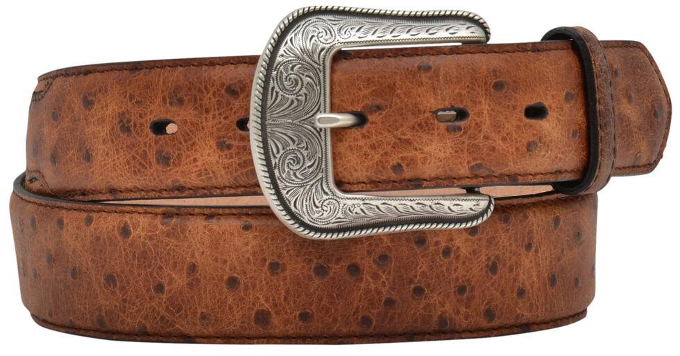 3D Vintage Ostrich Print Leather Belt, Tan, hi-res