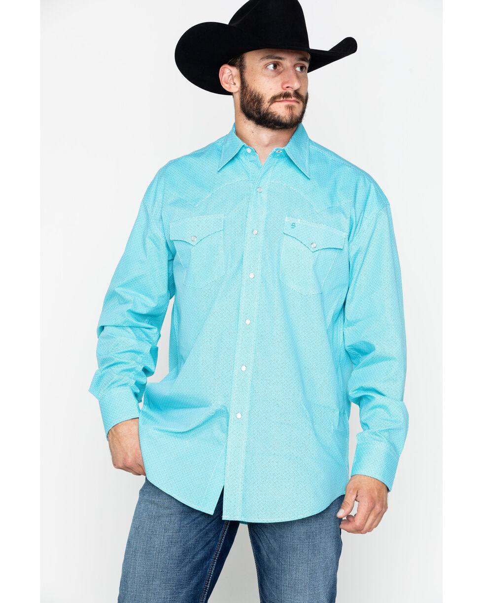 Roper Men's Blue Diamond Long Sleeve Western Shirt, Turquoise, hi-res