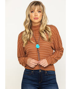 Eyeshadow Women's Rust Stripe Hacci Crop Top , Rust Copper, hi-res