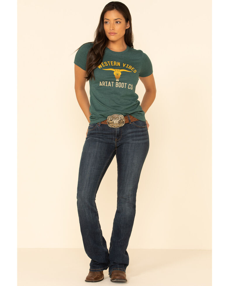 Ariat Women's Teal Western Vibes Bull Graphic Tee , Teal, hi-res