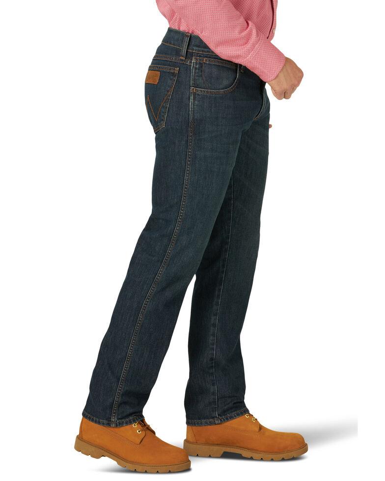 Wrangler Retro Men's FR New Castle Dark Slim Straight Work Jeans , Blue, hi-res