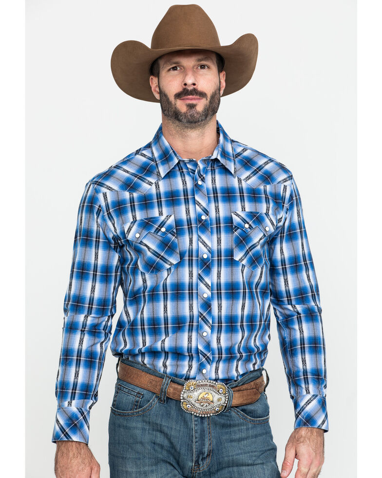 Rock & Roll Cowboy Men's Blue Dobby Plaid Long Sleeve Western Shirt , Blue, hi-res