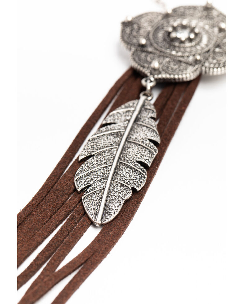 Shyanne Women's Hidden Treasure Mendala Feather Charm Leather Bolo Necklace, Silver, hi-res