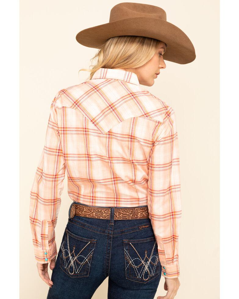 Wrangler Women's Peach Plaid Long Sleeve Western Shirt , Peach, hi-res