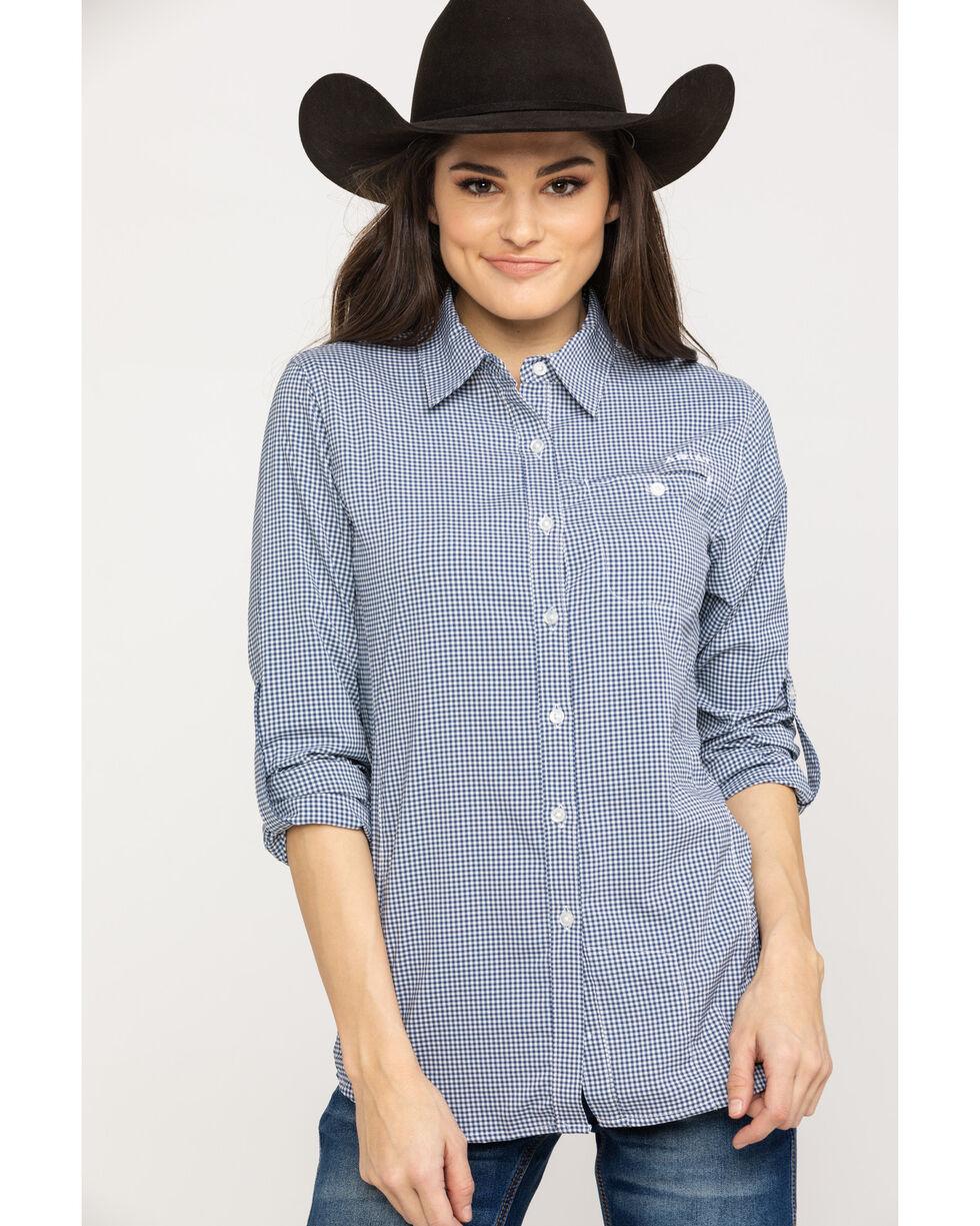 Ariat Women's Indigo Fade Check VentTek II Long Sleeve Shirt, Multi, hi-res