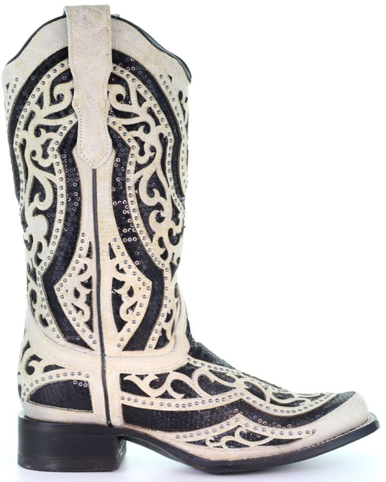 Corral Women's White & Black Inlay Embroidered Western Leather Boots - Square Toe, Black/white, hi-res