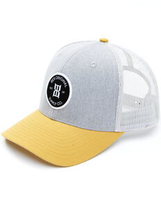 Bex Men's Yellow Bosc Circle Logo Patch Mesh-Back Trucker Cap , Grey, hi-res