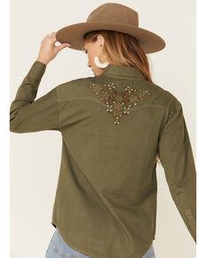 Shyanne Women's Olive Floral Embroidered Shirt Jacket , Olive, hi-res
