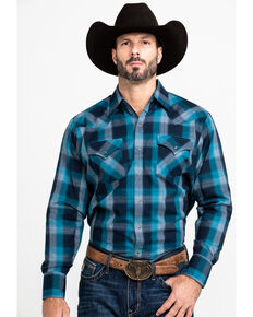 Ely Cattleman Men's Assorted Multi Peached Plaid Long Sleeve Western Shirt , Multi, hi-res
