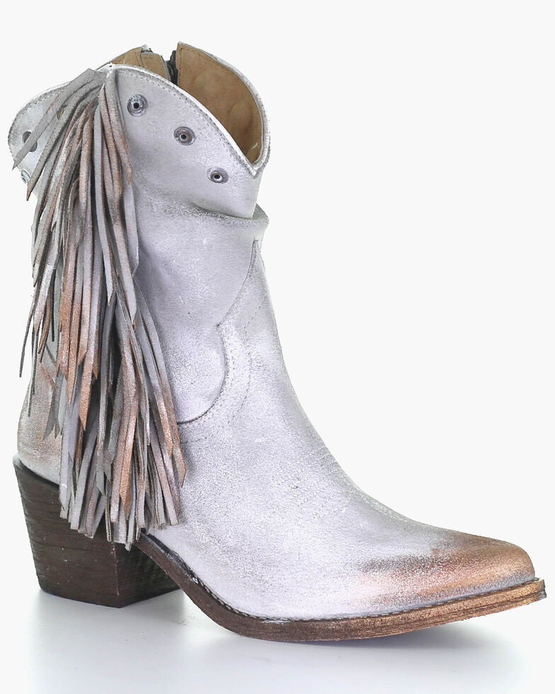 Corral Women's Studded & Fringe Fashion Booties - Pointed Toe, Grey, hi-res