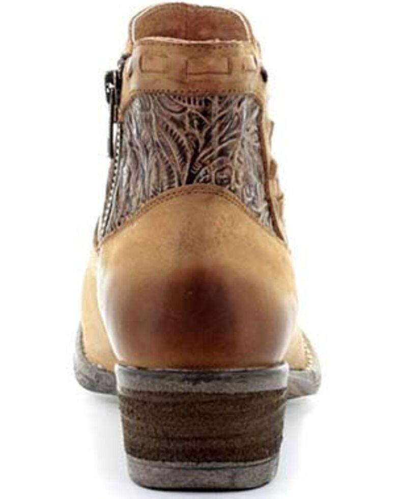 Circle G Women's Brown Engraved Shortie Booties- Round Toe , Brown, hi-res