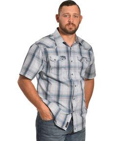 Moonshine Spirit Men's Ghost Town Plaid Short Sleeve Western Shirt , White, hi-res