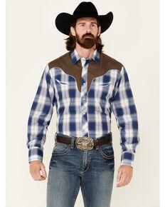 Roper Men's Blue Embroidered Large Plaid Long Sleeve Snap Western Shirt , Blue, hi-res