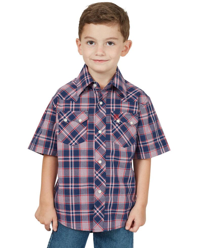 Wrangler Retro Boys' Navy Plaid Short Sleeve Western Shirt , Navy, hi-res