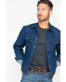 Wrangler Men's Unlined Denim Western Jacket - Tall , Indigo, hi-res
