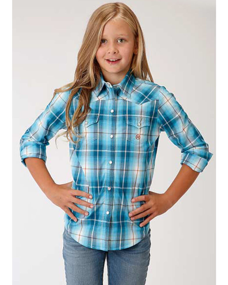 Amarillo Girls' Blue Plaid Snap Long Sleeve Western Shirt , Turquoise, hi-res