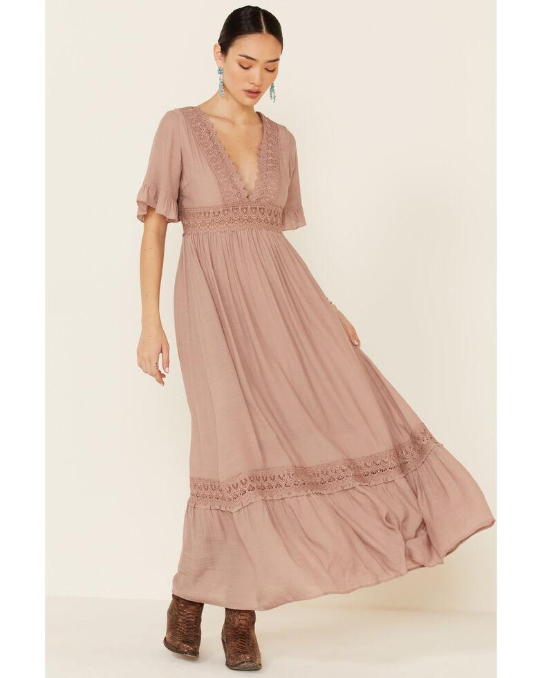 Wishlist Women's Crochet Trim Maxi Dress, Mauve, hi-res