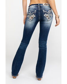 Miss Me Women's Dark Camo Cross Bootcut Jeans , Blue, hi-res