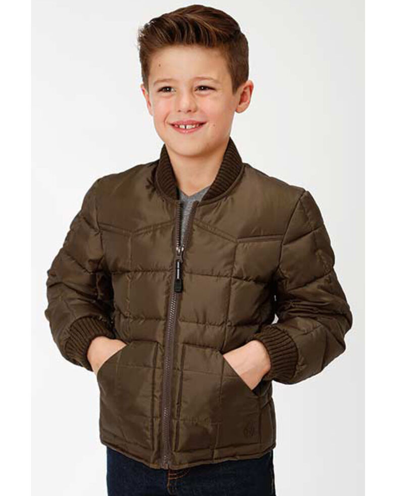 Roper Boys' Brown Rangewear Quilted Poly Fill Down Jacket , Brown, hi-res