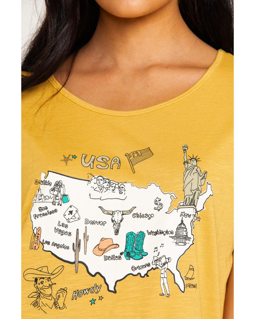 Ariat Women's USA Map Scoop Graphic Top , Dark Yellow, hi-res