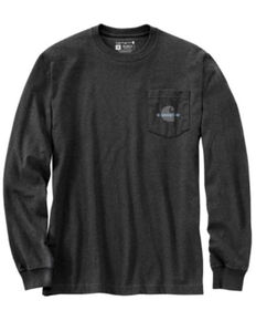 Carhartt Men's Heather Charcoal C Graphic Loose Fit Long Sleeve Work Pocket T-Shirt - Tall , Charcoal, hi-res