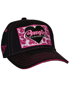 Cowgirl Hardware Girls' Pink Leopard Print Heart Patch Ball Cap , White, hi-res