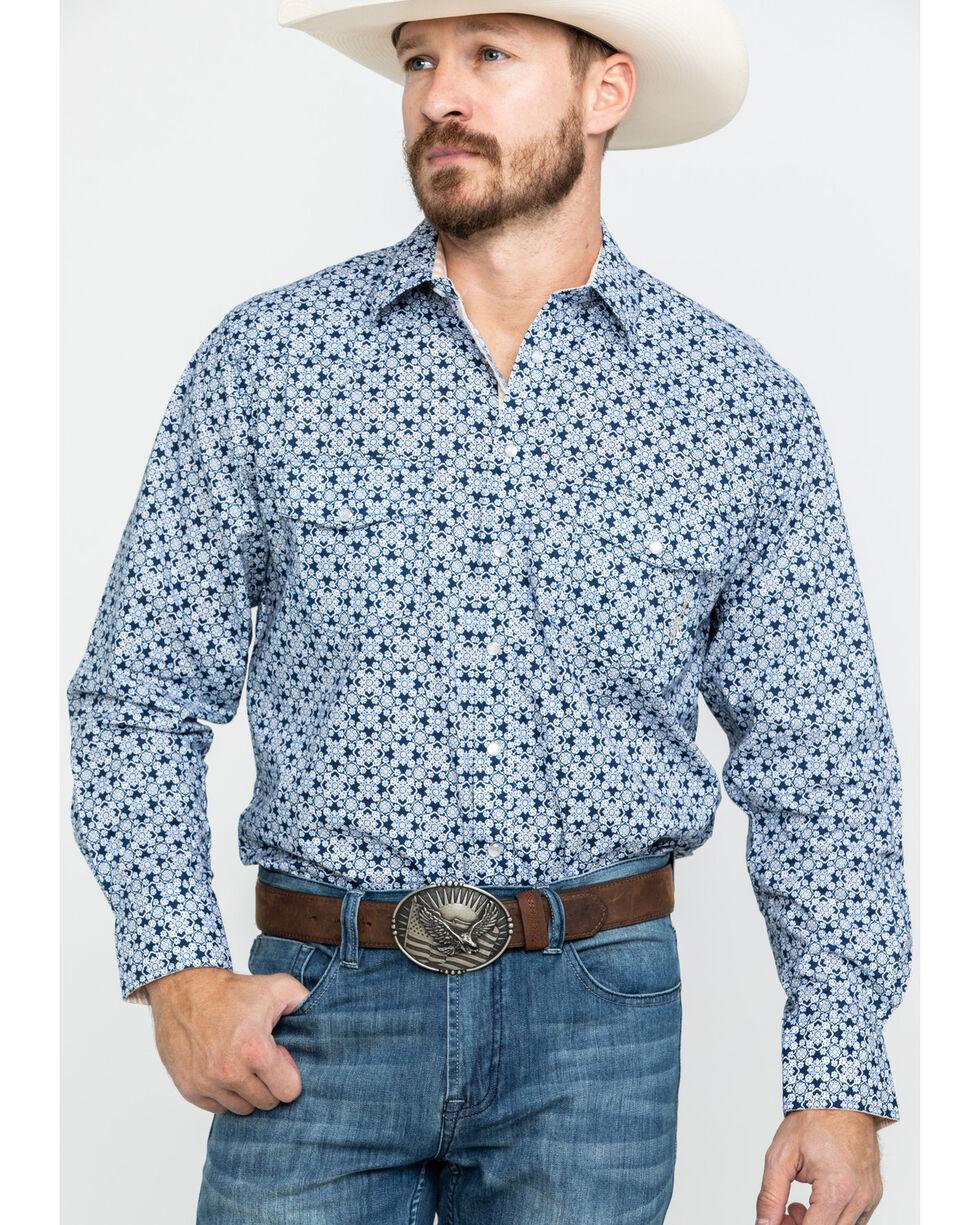 Resistol Men's Highland Geo Print Long Sleeve Western Shirt , Navy, hi-res