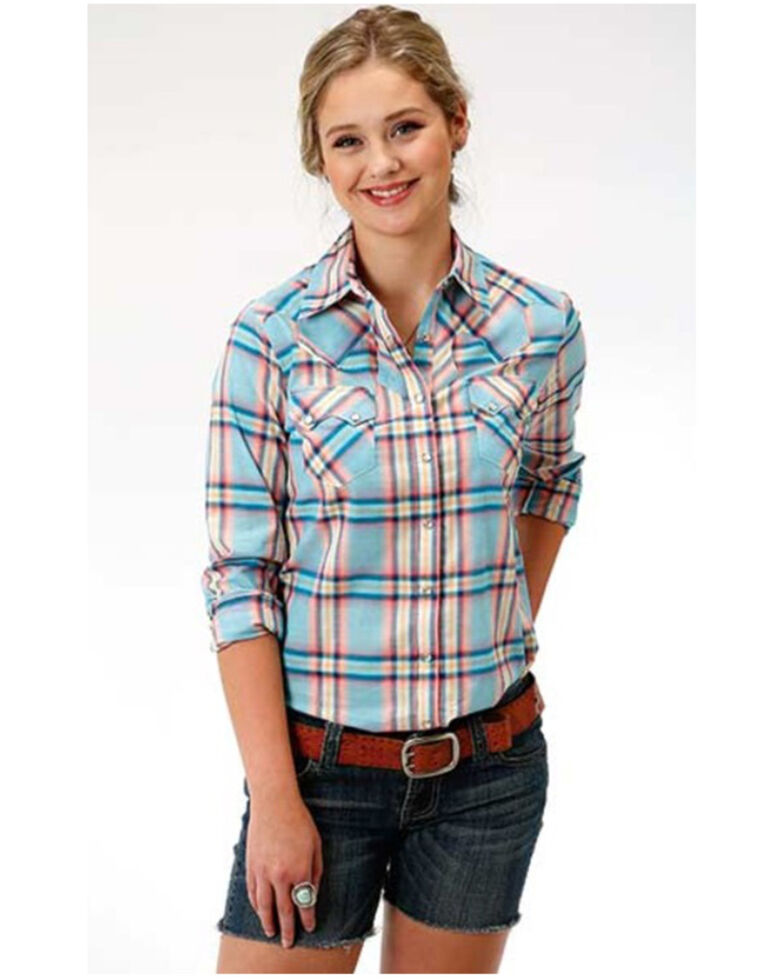 Five Star Women's Coral Glow Plaid Long Sleeve Western Shirt  , Coral, hi-res