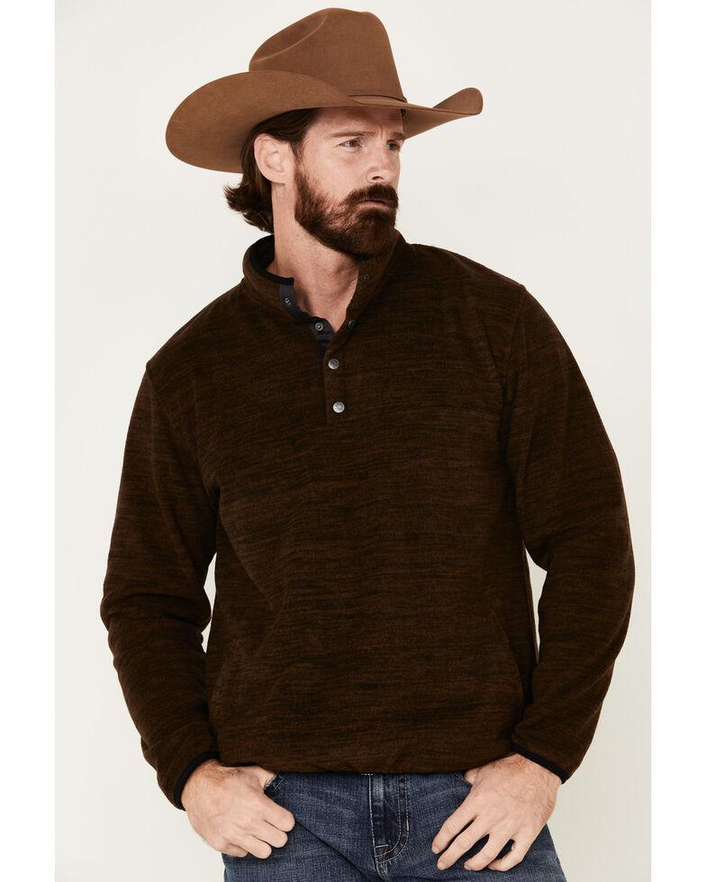 North River Men's Fleece 1/4 Snap Mock Neck Pullover , Brown, hi-res