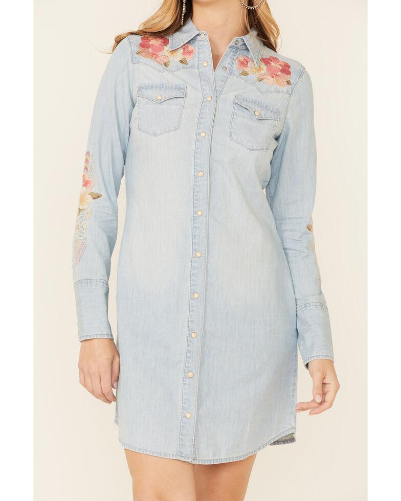 Stetson Women's Blue Embroidered Denim Dress, Blue, hi-res