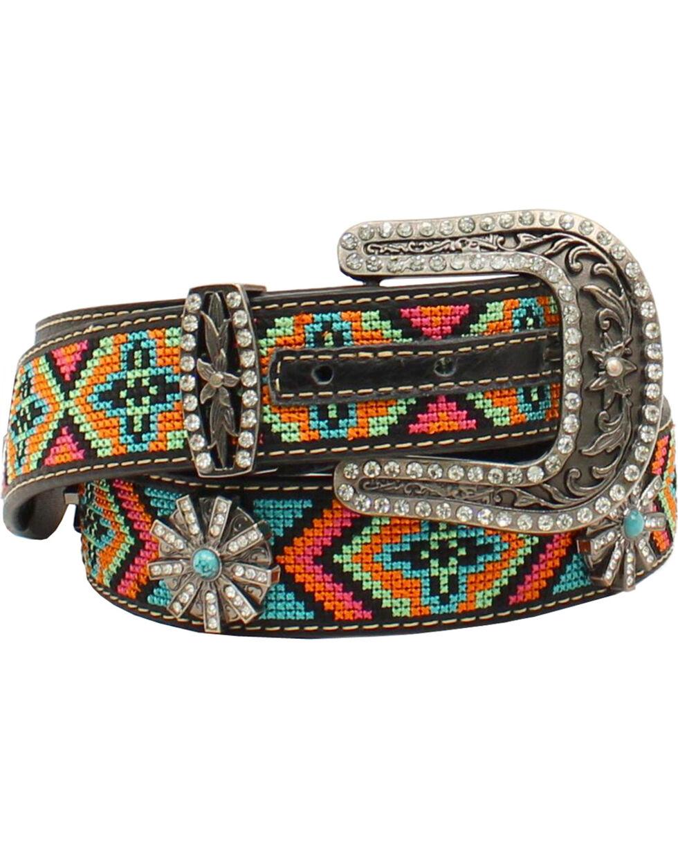 Blazin Roxx Women's  Aztec Concho Belt, Black, hi-res