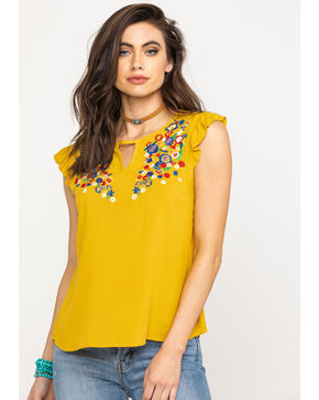 Red Label by Panhandle Women's Floral Embroidered Ruffle Top, Dark Yellow, hi-res