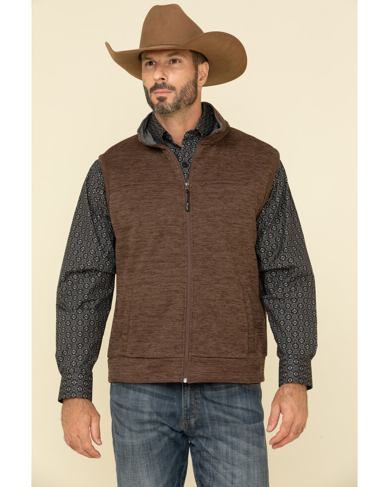 George Strait By Wrangler Men's Brown Knit Relaxed Fit Vest, Brown, hi-res