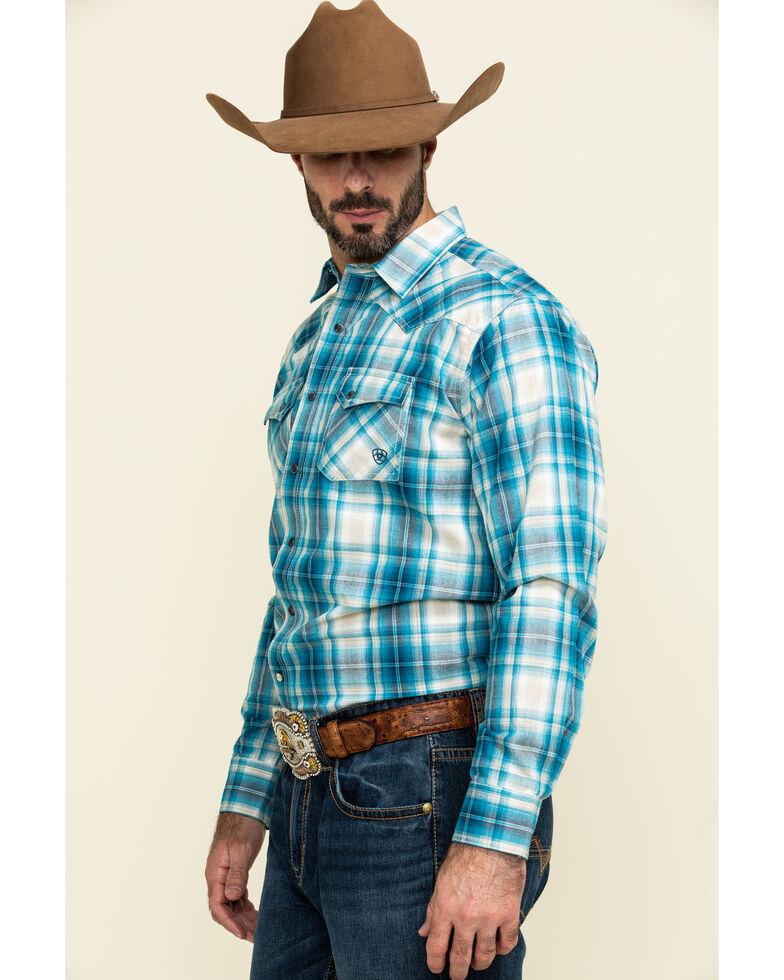 Ariat Men's Quadman Dark Denim Plaid Long Sleeve Western Shirt , Blue, hi-res