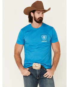 Ariat Men's Turquoise Linear Logo Graphic T-Shirt , Turquoise, hi-res