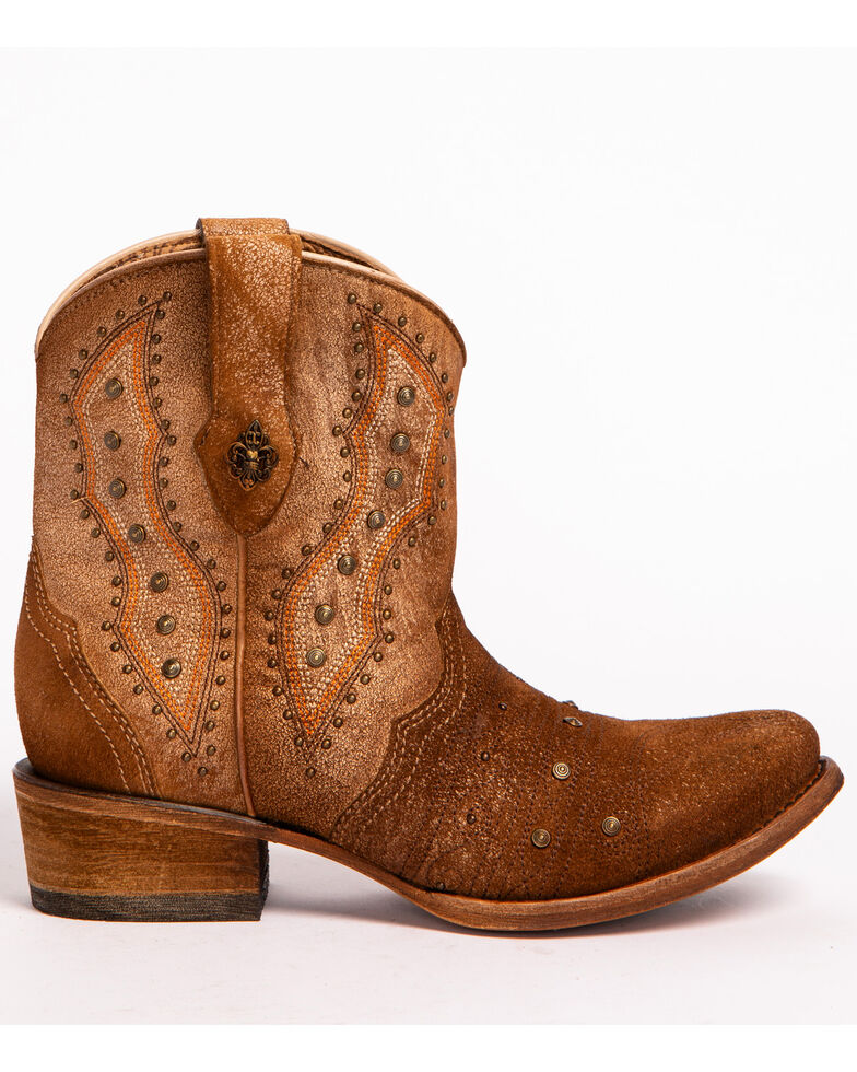 Corral Women's Bone Embroidery & Studs Booties - Round Toe, Ivory, hi-res