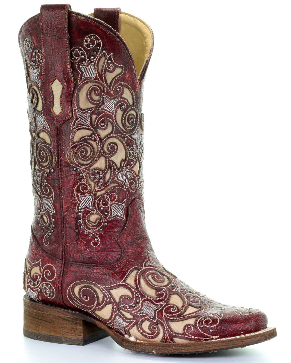 Corral Women's Red Embroidered Stud Inlay Cowgirl Boots - Square Toe, Red, hi-res