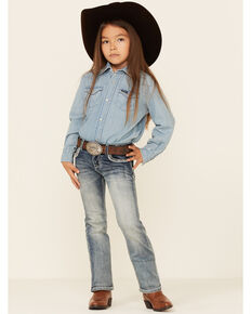 Grace In LA Girls' (4-6) Medium Wash Embroidered Border Faux Flap Bootcut Jeans , Blue, hi-res