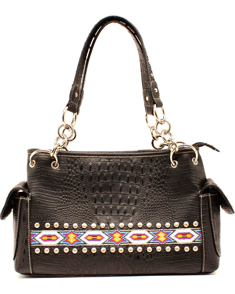 Blazin Roxx Bead Ribbon Black Satchel, Black, hi-res